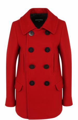 Двубортное шерстяное пальто прямого кроя Dsquared2. Цвет: красный