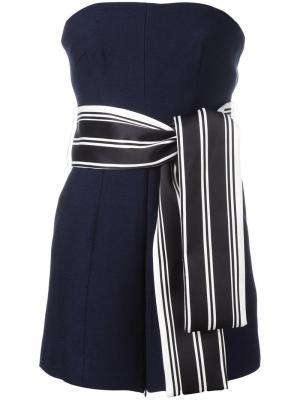 Блузка без бретелей с поясом C/Meo. Цвет: синий