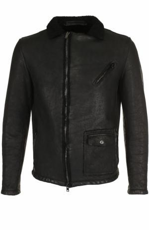Кожаная куртка на молнии с отложным воротником Salvatore Santoro. Цвет: черный