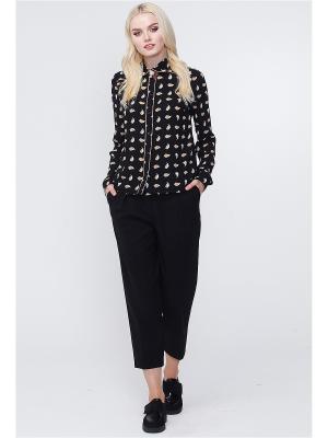 Блузка MARY MEA. Цвет: черный, бежевый