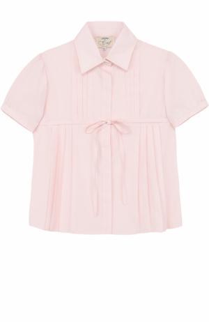 Хлопковая блуза с короткими рукавами и поясом Caf. Цвет: розовый