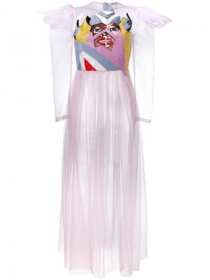 Декорированное прозрачное платье из тюля Tata Naka. Цвет: розовый и фиолетовый
