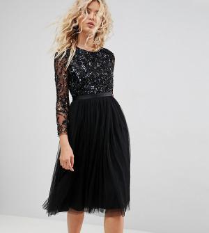 Needle & Thread Платье миди с длинными рукавами и отделкой. Цвет: черный