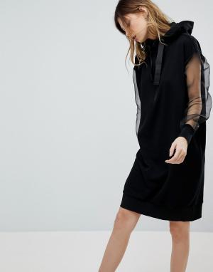 Noisy May Платье с капюшоном и длинными рукавами. Цвет: черный