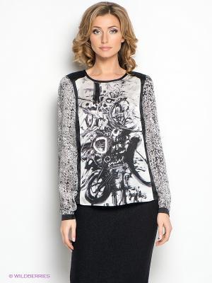 Блузка LUIGI FERRO. Цвет: серый, черный