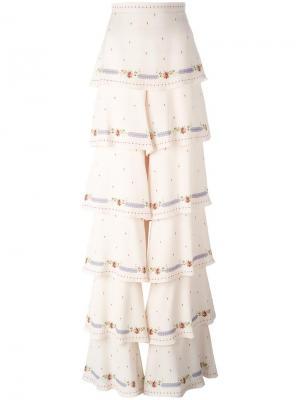 Многоярусные брюки с завышенной талией Vilshenko. Цвет: телесный