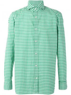 Клетчатая рубашка Borrelli. Цвет: зелёный