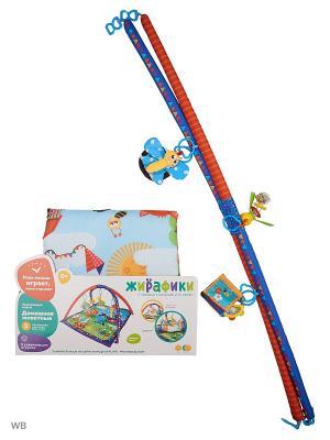 Развивающий коврик Домашние животные, 5 развивающих игрушек, с книжкой-шуршалкой Жирафики. Цвет: голубой, сиреневый, оранжевый, зеленый