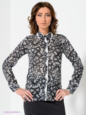 Блузка ЭНСО. Цвет: черный, белый