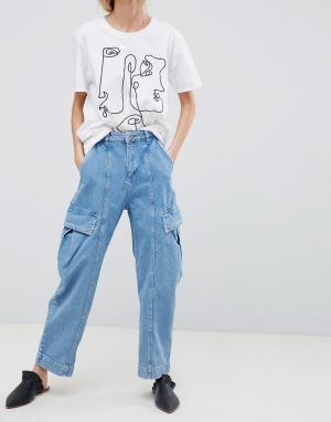 ASOS Голубые оверсайз-джинсы с широкими штанинами DESIGN. Цвет: синий