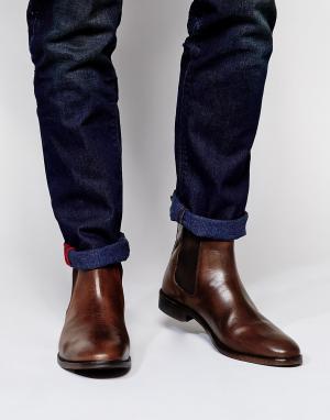 ASOS Кожаные ботинки Chelsea. Цвет: коричневый