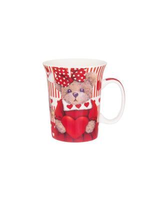 Кружка Мишка с сердечками Elan Gallery. Цвет: красный,коричневый
