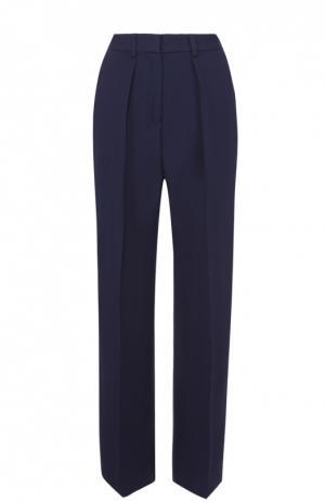 Широкие брюки прямого с защипами MSGM. Цвет: синий