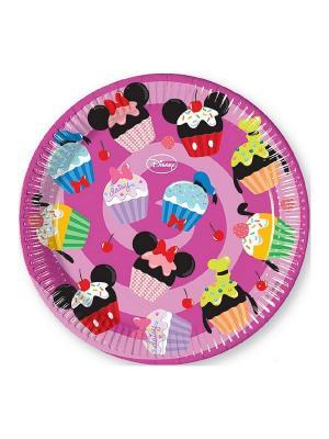 Тарелки Микки и его друзья - сладости 23 см, 8 шт. Procos. Цвет: розовый