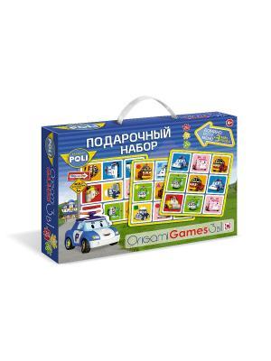 Робокар Поли. Подарочный набор 3 в 1: Лото, Мемо, Домино. подарок мини-пазла. . Robocar Poli. Цвет: синий, зеленый, красный