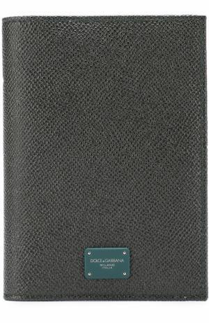 Кожаная обложка для паспорта Dolce & Gabbana. Цвет: темно-зеленый