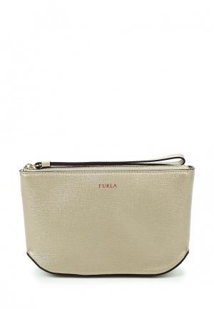 Комплект косметичка и кошелек Furla. Цвет: золотой