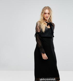 TFNC Tall Платье миди с длинными рукавами, кружевом и бархатной отделкой Ta. Цвет: черный