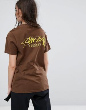 Stussy Оверсайз-футболка с принтом. Цвет: коричневый