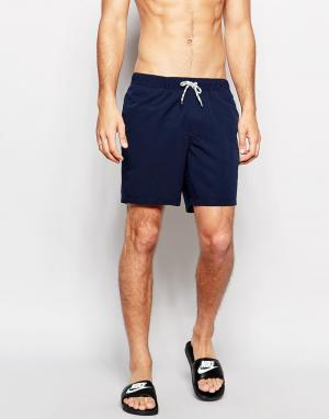 ASOS Темно-синие шорты для плавания средней длины. Цвет: темно-синий
