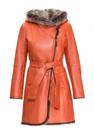 Дубленка с поясом 154925 Mondial. Цвет: оранжевый