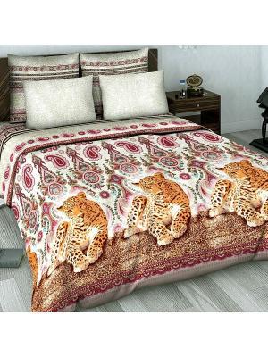 Комплект постельного белья из сатина 2 спальный Василиса. Цвет: оранжевый