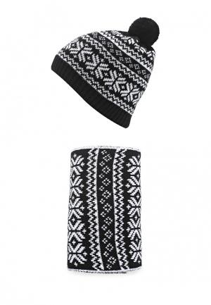 Комплект шапка и шарф Fete. Цвет: черный
