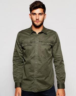 True Religion Рабочая рубашка бледно-оливкового цвета. Цвет: зеленый