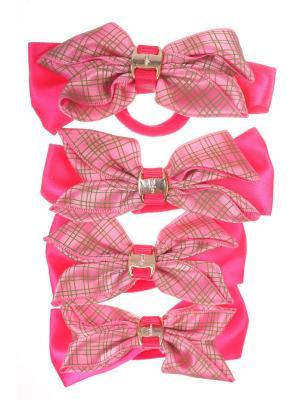 Резинки бантики с крупной прямой сеткой, розовый, набор 4 шт Радужки. Цвет: розовый