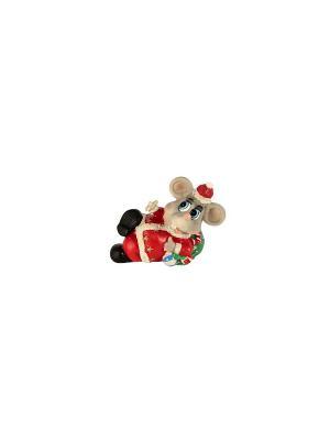Копилка Мышь лежит Elff Ceramics. Цвет: серый, зеленый, красный