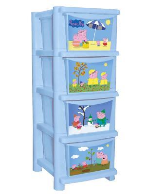 Детский комод для детской комнаты Свинка Пеппа 335мм Little Angel. Цвет: голубой