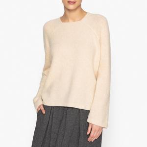 Пуловер свободный с квадратным вырезом из альпаки POMANDERE. Цвет: желтый,экрю