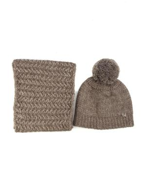Комплект: шапка + снуд Bijoux Land. Цвет: темно-коричневый