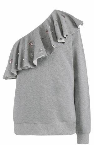 Свитшот с открытым плечом и декорированной оборкой MSGM. Цвет: серый