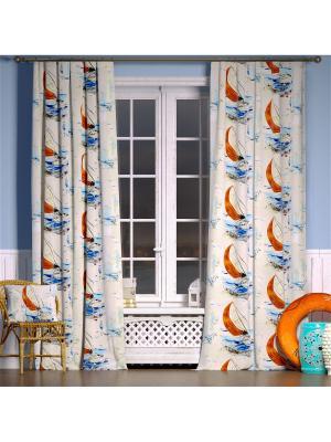 Штора Пикардия Tricotika. Цвет: синий, белый, оранжевый