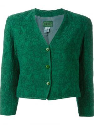 Укороченный пиджак с цветочной вышивкой Kenzo Vintage. Цвет: зелёный