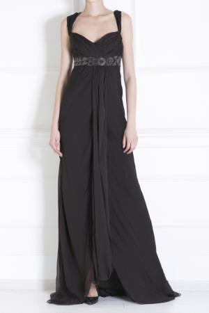 Шелковое платье J. Mendel. Цвет: коричневый