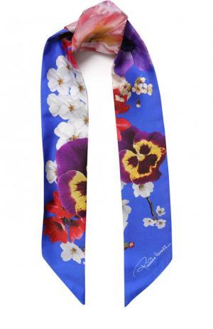 Шелковый шарф-бандо с цветочным принтом Roberto Cavalli. Цвет: голубой