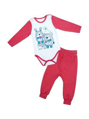 Комплект одежды Апрель. Цвет: белый, коралловый