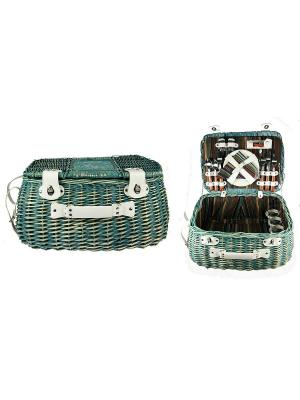 Набор для пикника на 4 персоны Русские подарки. Цвет: зеленый, коричневый, белый