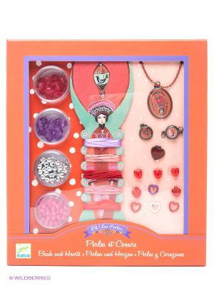 Набор для детского творчества Сердечки DJECO. Цвет: розовый, красный