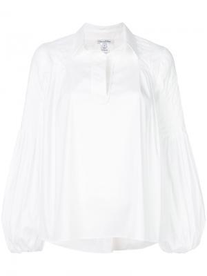 Рубашка с широкими рукавами Oscar de la Renta. Цвет: белый