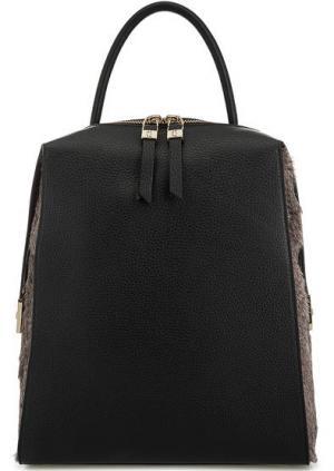 Кожаный рюкзак с меховой отделкой Gironacci. Цвет: черный
