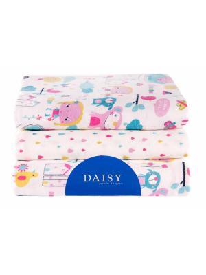 Пеленка Девочки, 3 шт. DAISY. Цвет: светло-голубой, бледно-розовый, лиловый