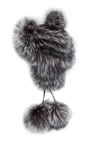 Головной убор из меха лисы и норки 141876 Igor Gulyaev. Цвет: серый