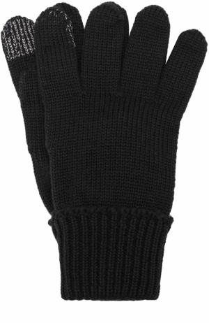 Шерстяные перчатки с металлизированной отделкой Il Trenino. Цвет: черный