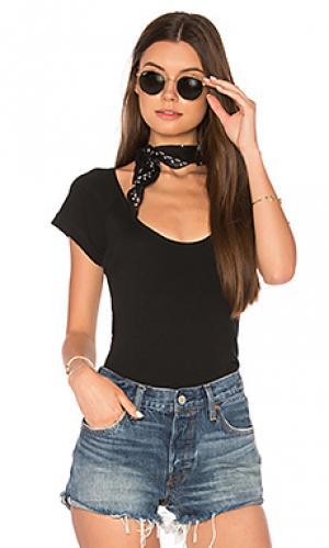 Классическая футболка в рубчик ROLLAS ROLLA'S. Цвет: черный