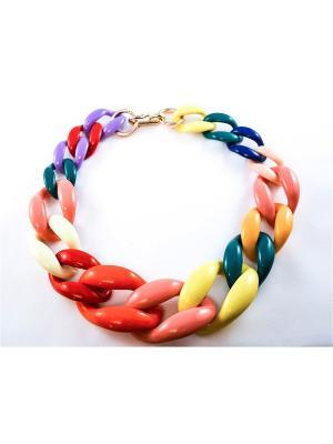 Колье Miss Bijou. Цвет: голубой, сиреневый, красный, розовый, желтый, зеленый, коричневый