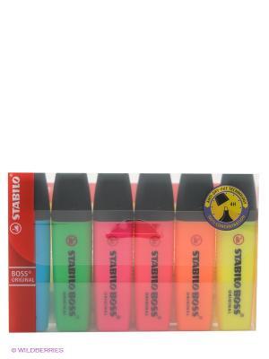 Набор маркеров, 6 цв. Stabilo. Цвет: красный, розовый, желтый, зеленый, голубой
