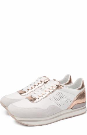 Комбинированные кроссовки с вставками из металлизированной кожи Hogan. Цвет: белый